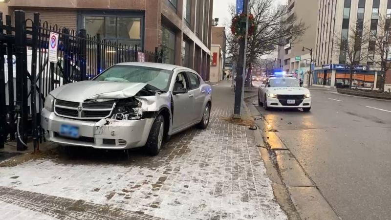 Man arrested following a crash on Cedar Street in downtown Sudbury. Dec. 4/20 (Kent Guindon/CTV Northern Ontario)