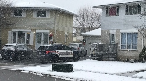 Police seen on Winter Court on Dec. 4, 2020. (Chris Thomson / CTV Kitchener)