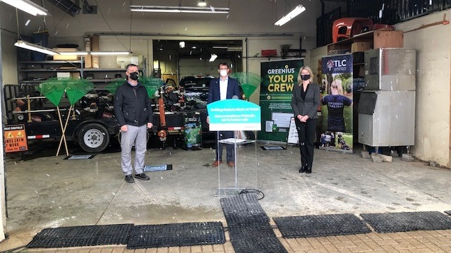 Ontario Minister of Labour Monte McNaughton, centre, speaks in London, Ont. on Friday, Dec. 4, 2020. (Nick Paparella / CTV News)