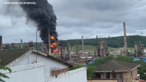 Fire breaks out at South African oil refinery
