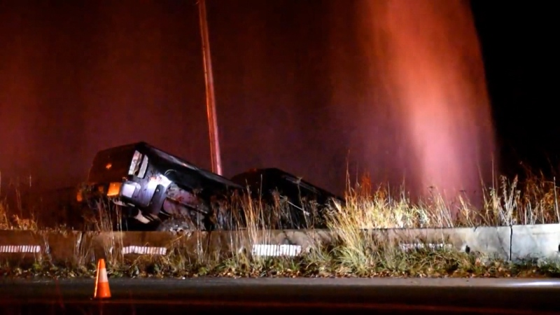 A truck crashed over a barrier and hit a high-pressure watermain in Langley on Dec. 3, 2020.