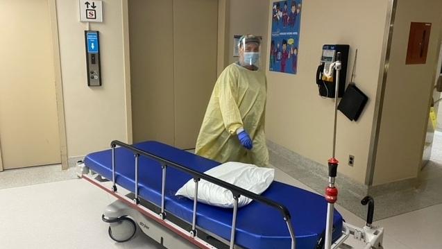 A staff member inside Erie Shores Healthcare in Leamington, Ont. (Courtesy Erie Shores Healthcare)