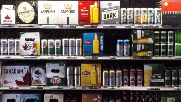 Beer products are on display at a Toronto beer store on Thursday, April 16, 2015. THE CANADIAN PRESS/Chris Young