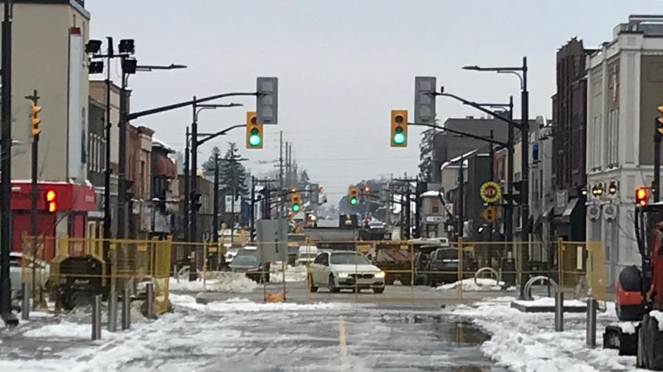 The massive construction project on Dunlop Street in Barrie, Ont., is nearly complete with the final touches being done in the coming days. (Rob Cooper/CTV News)
