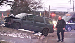 Sault Ste. Marie Police are at the scene of a single-vehicle collision Friday that sent a man and a woman to the hospital with serious injuries. (Christian D'Avino/CTV News)