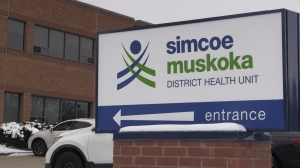 The offices of the Simcoe Muskoka District Health Unit in Barrie, Ont. (Siobhan Morris/CTV News)