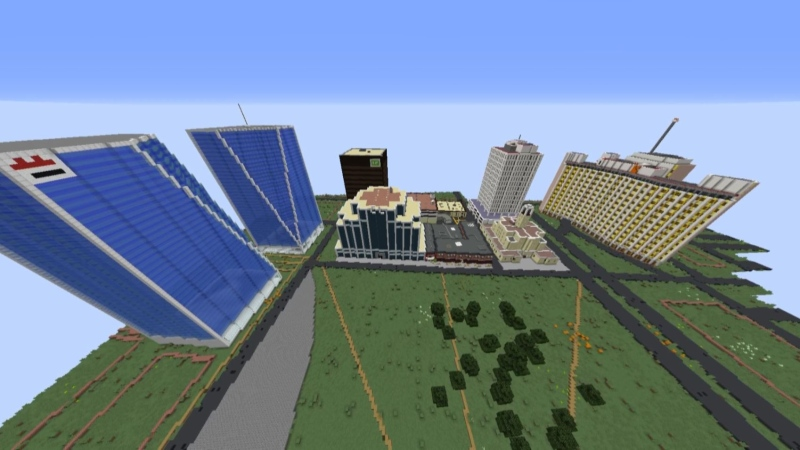 Teen building Regina's downtown in Minecraft