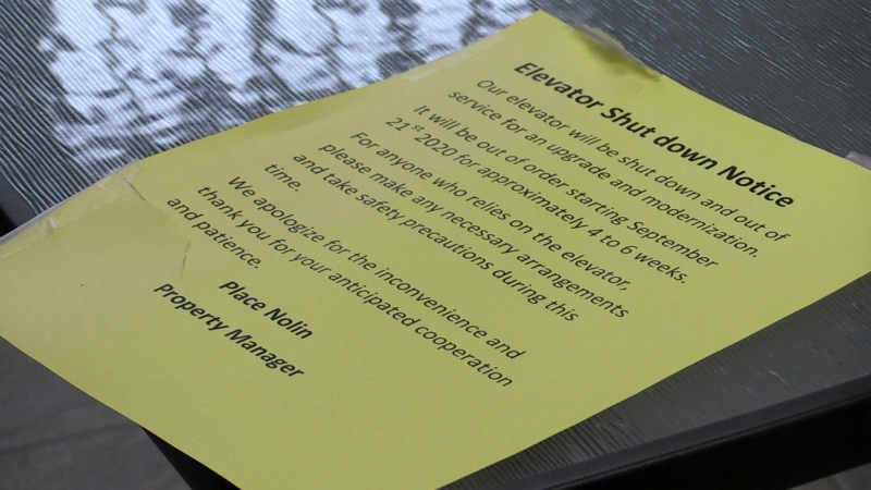 Notices have been posted on the doorways alerting tenants of the issue with the broken elevator, although no resolution date is set. (Dana Roberts/CTV News)