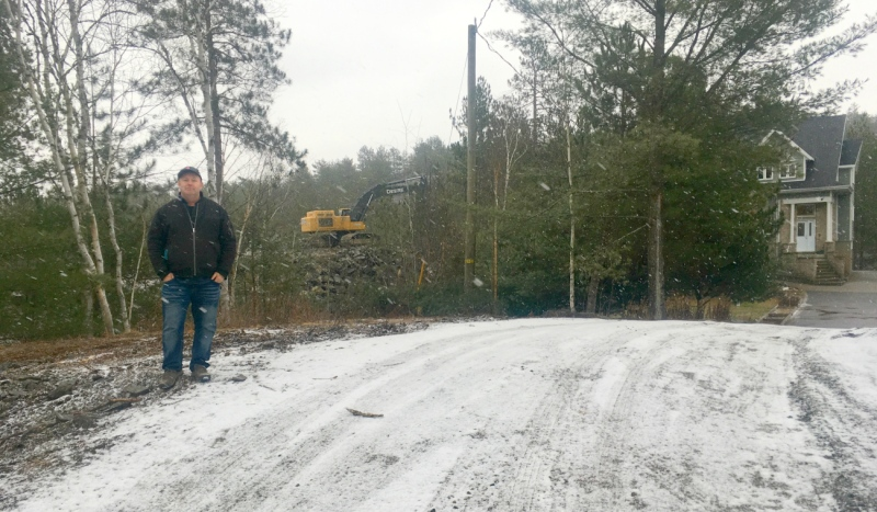 Leo Turgeon bought his dream home on Dill Lake a year ago. In November, blasting started to clear a private lot next door and he said it has damaged his home's foundation. (Alana Everson/CTV News)