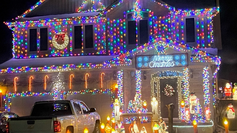 Holiday lights on display at a home in Waterloo