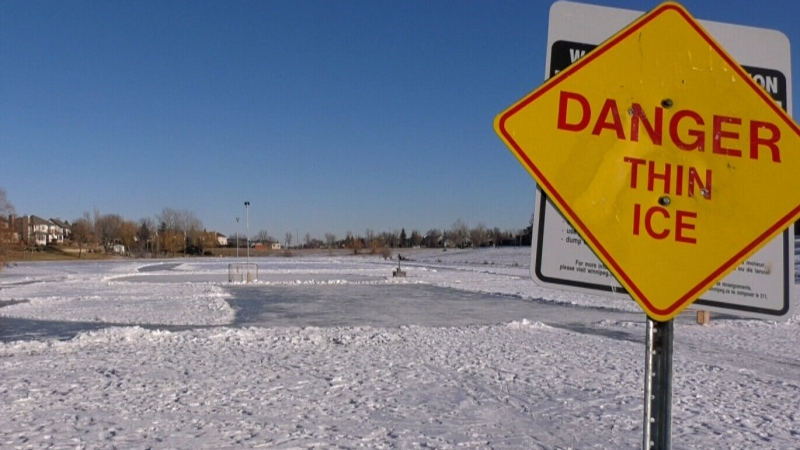 Skating on retention ponds is illegal and unsafe