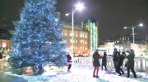 The Christmas tree in Uptown Waterloo Public Square was lit in an online ceremony