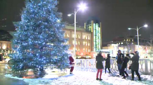 Uptown Waterloo tree lit up in virtual ceremony