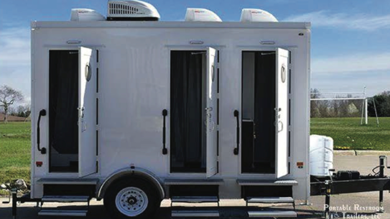 A mobile shower facility is seen in this photo provided by the City of Victoria.