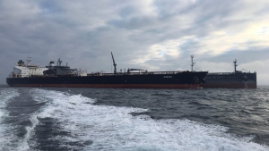 In this October 2019 photo, the MT Agrari is seen off the coast of Frederikshavn, Denmark. A mine in the Red Sea off Saudi Arabia's coast near Yemen exploded and damaged the oil tanker MT Agrari on Wednesday, Nov. 25, 2020, authorities said, the latest incident targeting the kingdom amid its long war against Yemen's Houthi rebels. (Morten Weesgaard via AP)