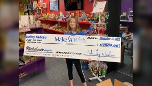This week 12-year-old Hailey Nadeau donated $1,000 to the Make A Wish Foundation marking a significant milestone for the young philanthropist. (Supplied Photo)