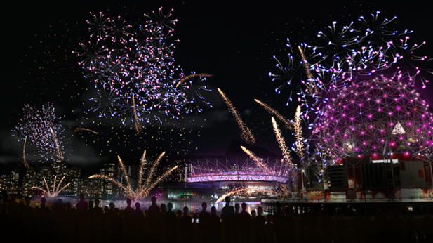 A fireworks display in Vancouver's False Creek (Submitted Photo).