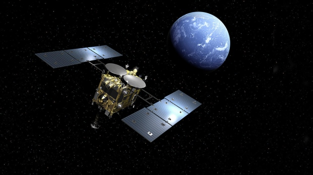 Hayabusa2 will drop off the sample to Earth and continue on its journey to other asteroids. (JAXA)