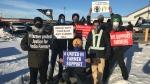 Saskatoon protesters support Indian farmers on Dec. 5, 2020. (Chad Leroux/CTV Saskatoon)