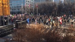 Another group of protesters demonstrated outside Calgary city hall on Saturday.