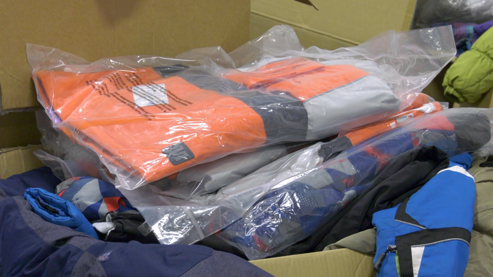 New and gently used snowsuits are ready for delivery during the Brockville Kinsmen Snowsuit Drive. (Nate Vandermeer/CTV News Ottawa)