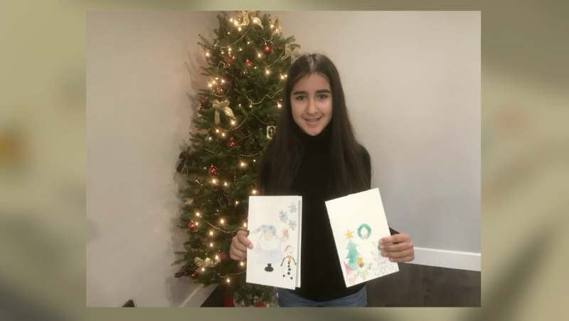 12-year-old Lilia Essaddam raised over $10,000 by selling her drawings as Christmas cards in Kingston. The money will support the homeless of Kingston. (Kimberley Johnson/CTV News Ottawa)
