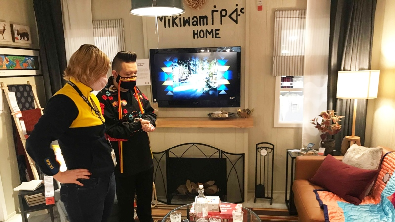 Lance Cardinal shows off the Indigenous showroom he designed at IKEA Edmonton. (Galen McDougall/CTV News Edmonton)
