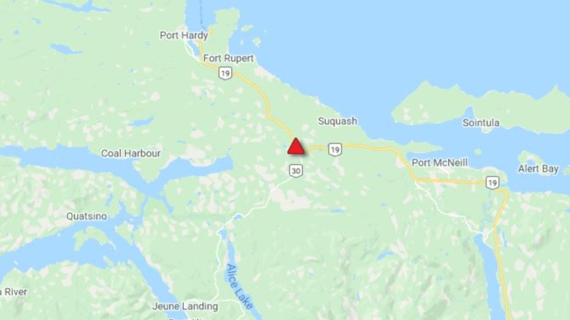 Two people are injured after a serious crash on Highway 19 near Port Hardy Saturday. (DriveBC)