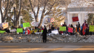 Kiwanis Park filled up Dec. 5, 2020 with dozens of people holding signs and chanting in protest of the government's handling of the pandemic. (Andrew Mareschal/CTV Saskatoon)