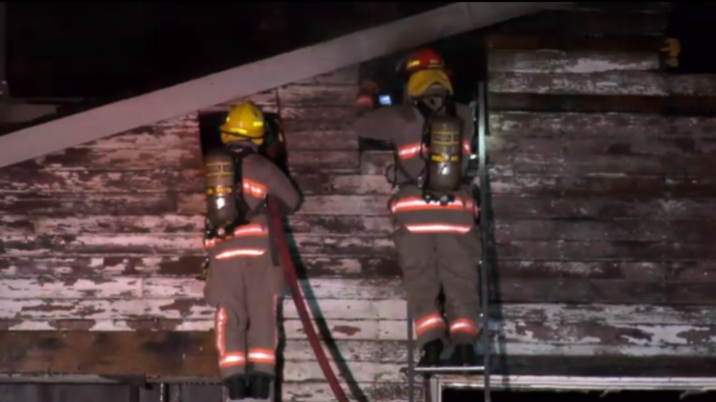 Firefighters in Chilliwack say a fire at a vacant auto-repair business early Saturday morning was deliberately set. (CTV)