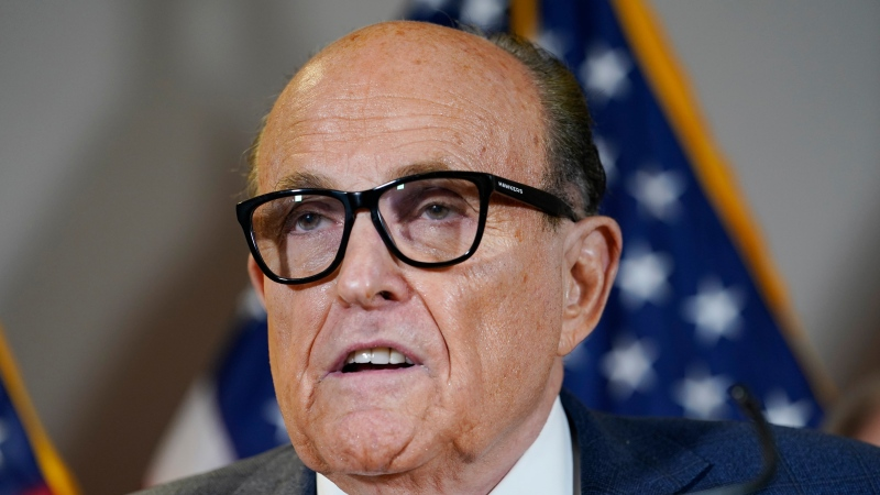 Former Mayor of New York Rudy Giuliani, at the time a lawyer for then-U.S. president Donald Trump, speaks during a news conference at the Republican National Committee headquarters, Thursday Nov. 19, 2020, in Washington. (AP Photo/Jacquelyn Martin)