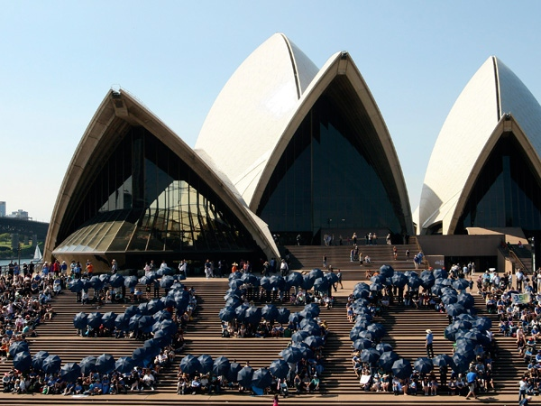 People form the number '350' with umbrellas on the steps of the Opera House in Sydney, Australia, Saturday, Oct. 24, 2009. Leading scientists have said that the upper limit for carbon dioxide measured should be no more that 350 parts per million to avoid runaway climate change. (AP Photo/Rob Griffith)