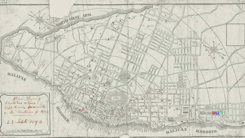 Historians say this 1890 map of Halifax provides a fascinating look at the spread of the bacterial infection diphtheria, and how public health attempted to trace the epidemic.