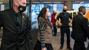 Huawei chief financial officer Meng Wanzhou leaves BC Supreme Court during a break in proceedings in Vancouver, B.C., Monday, Dec. 7, 2020. THE CANADIAN PRESS/Rich Lam