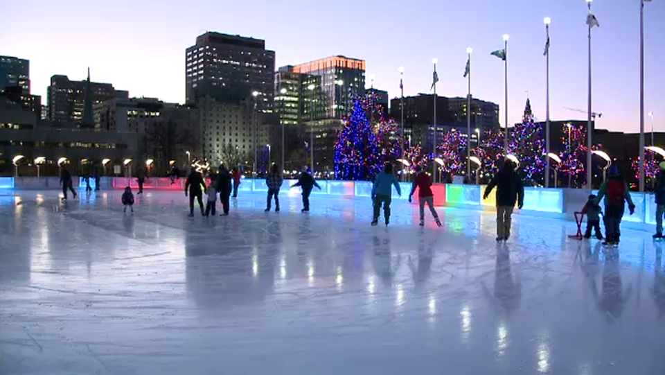 Skaters on the Rink of Dreams at Ottawa City Hall on Monday, Dec. 7, 2020.
