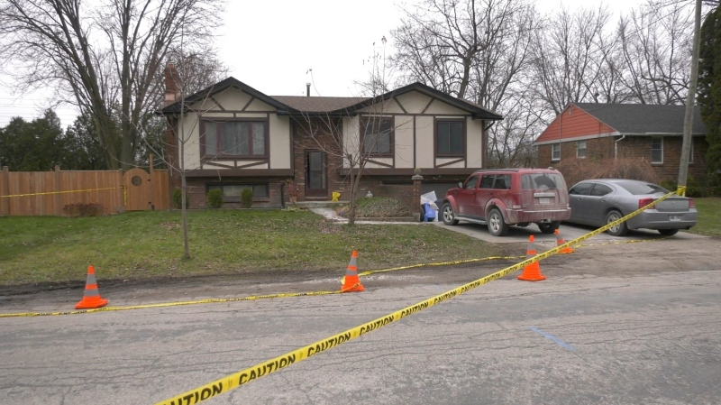 LaSalle police investigating a situation where a man was shot by a gunman and shot after opening the front door of a home in LaSalle, Ont. on Tuesday, Dec. 8, 2020. (Angelo Aversa/CTV Windsor)