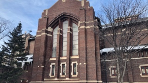 The south-facing facade of Knox United Church  would likely be blocked by the proposed development. (Francois Biber/CTV News)