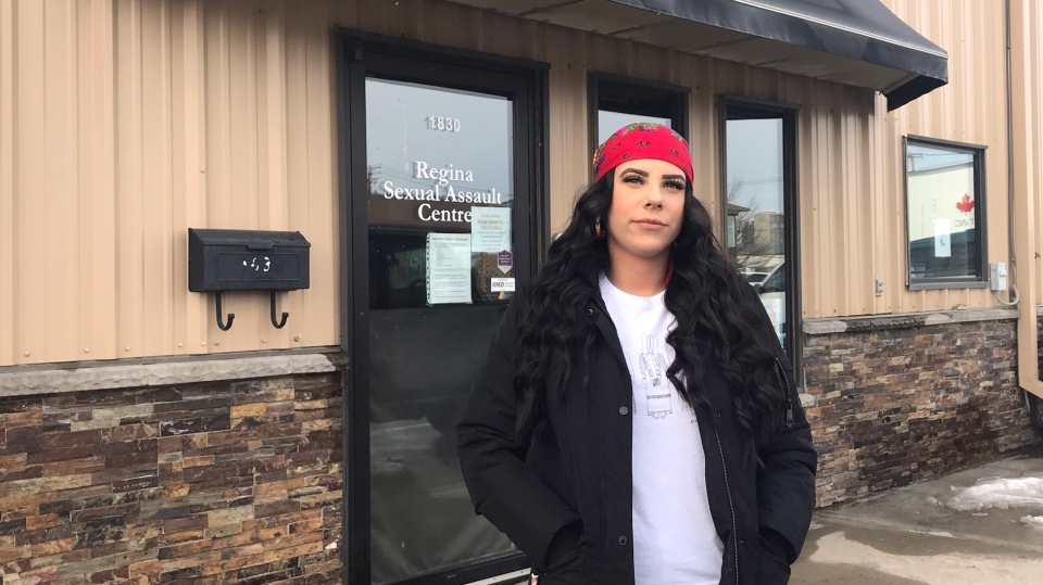 Alexis Kolody stands in front of Regina Sexual Assault Centre. (Stefanie Davis/CTV News)