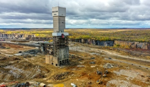 Vale's iconic No. 9 shaft at Stobie Mine will come down this week, the company announced in a news release Tuesday. (Photo courtesy of Concrete Pictures Inc.)