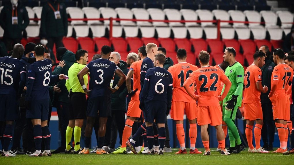 PSG and Istanbul Basaksehir players walk off amid racism allegations