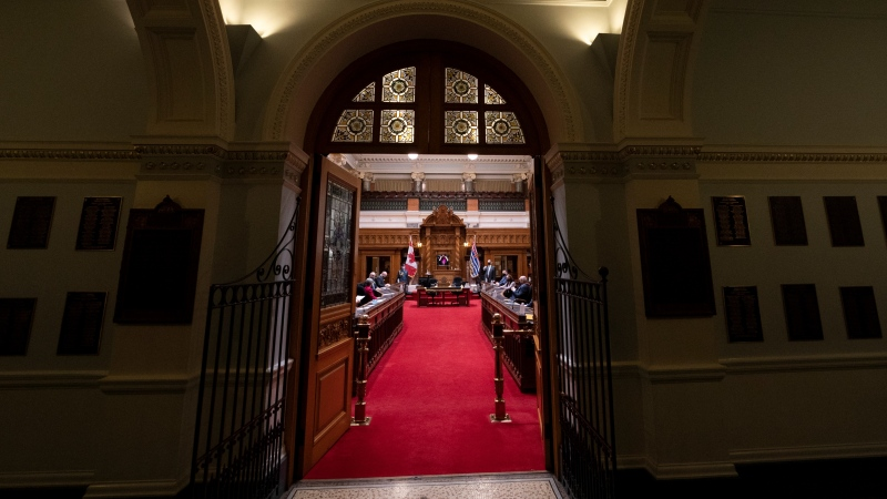 The Honourable Janet Austin, Lieutenant Governor of British Columbia wears a protective face covering to help prevent the spread of COVID-19 as she prepares to deliver the Speech from the Throne in the Legislature in Victoria, Monday, Dec. 7, 2020. (Jonathan Hayward / THE CANADIAN PRESS)