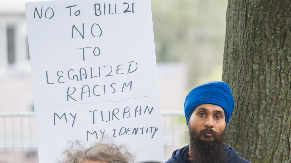 Demonstrators against Bill 21 in Quebec