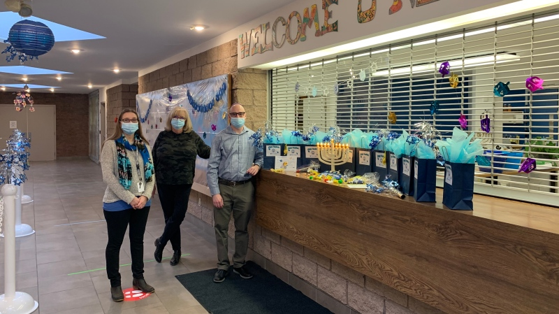 Preparations for Hanukkah are underway at the Jewish Community Centre in London, Ont. on Wednesday, Dec. 9, 2020. (Reta Ismail / CTV News)