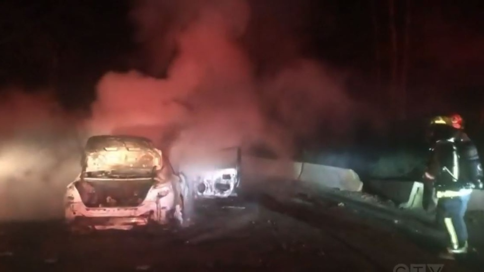 RCMP have made an arrest in connection to a vehicle fire early Wednesday morning just outside of Cumberland.