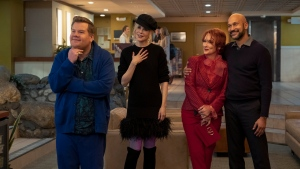 "This image released by Netflix shows, from left, James Corden, Nicole Kidman, Meryl Streep and Keegan-Michael Key in a scene from ""The Prom."" (Melinda Sue Gordon/Netflix via AP)"