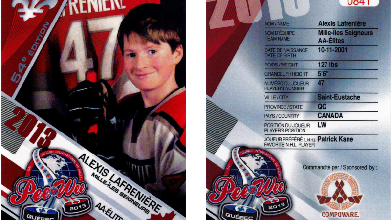 The SPVQ is warning collectors and hockey fans to stay away from purchasing fake Alexis Lafreniere Peewee hockey cards from the Quebec City International Pee-Wee Hockey Tournament in 2013. SOURCE: SPVQ