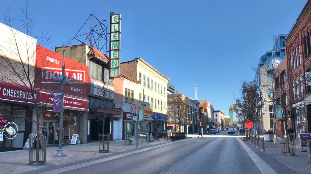 Businesses on King Street in downtown Kitchener.