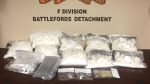 Items RCMP say were seized in a traffic stop near North Battleford. (Courtesy RCMP)