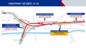 Dec. 11-14 closures on Highway 20