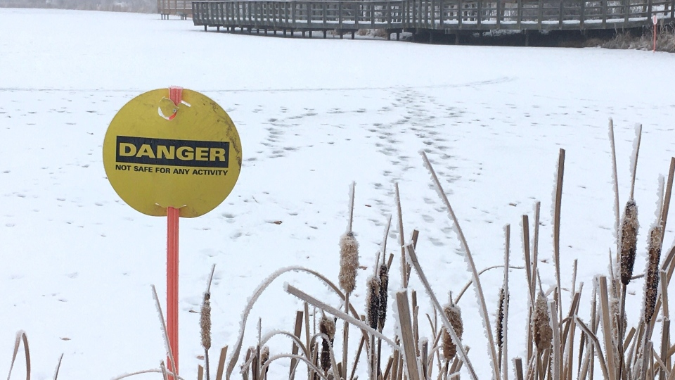 EPCOR says neighbourhood ponds are dangerous this December because the weather has been warmer than usual lately. Dec. 11, 2020. (Evan Klippenstein/CTV News Edmonton)